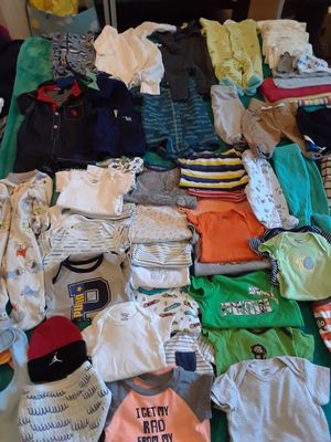Baby boy lot 52 pieces plus new born diapers asking $30 for Sale in Windsor Hills, CA