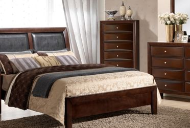 NEW EMILY MERLOT QUEEN BEDROOM SET. INCLUDES BED DRESSER MIRROR CHEST AND NIGHT STAND. ONLY $899 KING $999 TWIN $799 TV DRESSER $249 for Sale in Brandon,  FL
