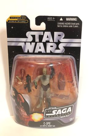 """Star Wars C-3PO with Battle Droid Head 3.75"""" Action Figure The Saga Collection Includes Hologram Figure Hasbro '06 for Sale in Las Vegas, NV"""