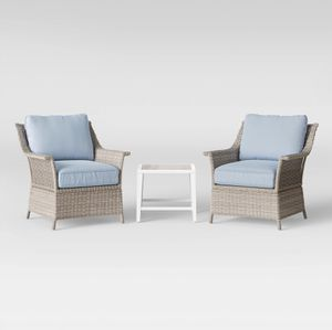NEW...all-weather 3pc Chat Set With 2-Large chairs with cushions has a beautiful beachy look for Sale in Boca Raton, FL