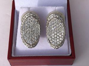 18K White Gold Oval Pave Diamond Earrings - 3.40 TCW for Sale in Scottsdale, AZ