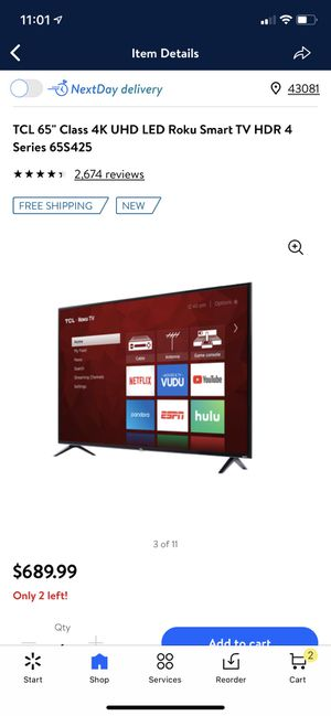 "TCL 65"" Class 4K UHD LED Roku Smart TV HDR 4 Series 65S425 for Sale in Westerville, OH"