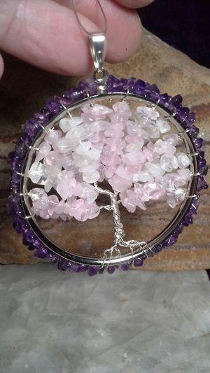 Quartz Rose, Moonstone and Amethyst Tree Of Life Pendant for Sale in Albuquerque, NM