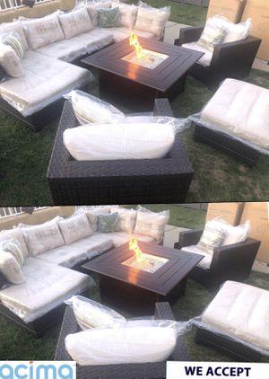 Huge patio furniture set with fire pit propane sunbrella for Sale in Riverside, CA
