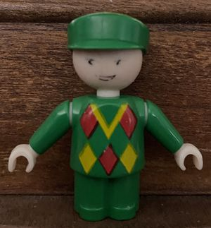 Vintage Brio Train Engineer Conductor Plastic Figure Green Uniform Toy Doll Miniature for Sale in Chapel Hill, NC