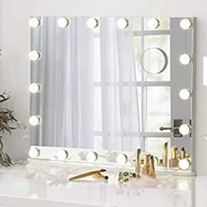 Vanity Mirror with Makeup Lights, Large Hollywood Light up Mirrors w/ 18 LED Bulbs for Bedroom Talbetop & Wall Mounted, White      .  for Sale in Riverside, CA