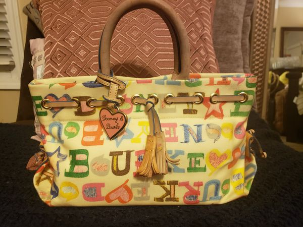 DOONEY & BOURKE MONOGRAM SATCHEL CANVAS AND LEATHER BAG WITH TASSELS