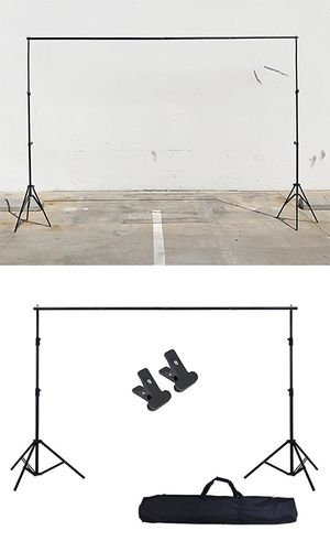 (NEW) $30 Adjustable Backdrop Stand (6.5ft tall x 10ft wide) Photo Photography Background w/ Carry Bag & 2 Clip for Sale in Whittier, CA