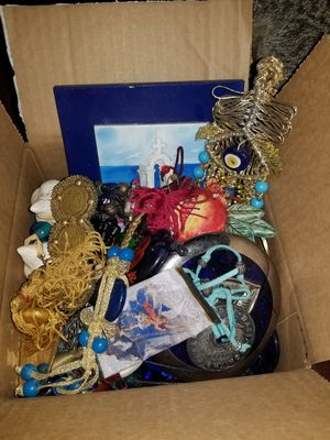 Box of Greek and evil eye charms and house decorations for Sale in Hollywood, FL