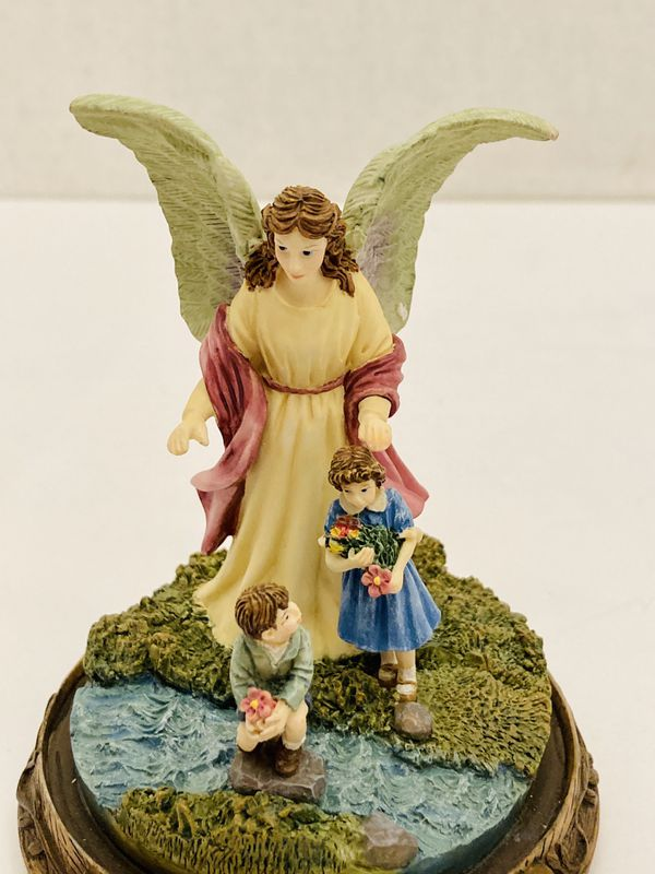 Vintage Limited Edition 1996 Bradford Exchange Someone Watching Over Me Collection Loving Care Guardian Angel Glass Dome Statue Figurine #2