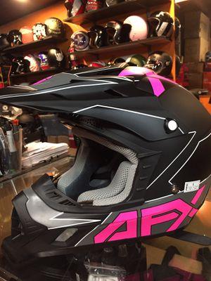 New matte black and pink dot off road dirt bike motorcycle helmet $100 for Sale in Santa Fe Springs, CA