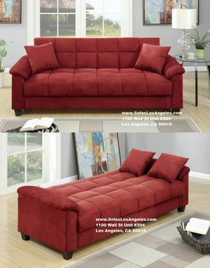 Visit Our Showroom 😁 We Finance - Red Microfiber Couch Sofa Futon Bed for Sale in Los Angeles, CA