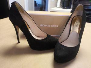 Michael kors size 8 black suede york pumps platform heels s for Sale in Charlotte, NC
