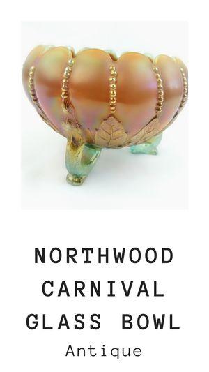 Antique Northwood Opalescent Carnival Glass Bowl Rose Bowl Leaf Pattern Marked N for Sale in Orange, CA