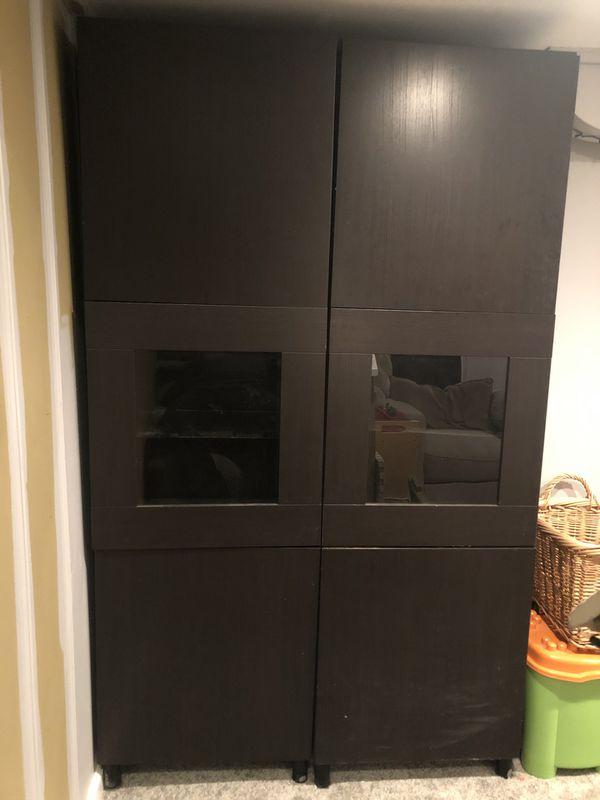 "Tall IKEA ""Black-Brown"" Cabinets - Glass Shelves"