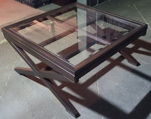 "ONLY $$$80$$$ NEW STAINED TABLE DARK BROWN WITH GLASS. (((40"" LONG X 20"" 1/2 HIGH X 40"" DEEP))) $$$80$$$ for Sale in Los Angeles, CA"