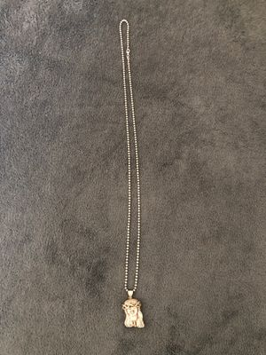 10k gold beed chain with 10k gold diamond crush Jesus pendant for Sale in Downey, CA