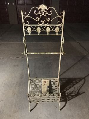 Vintage wrought iron magazine rack with a patina look for Sale in Brea, CA