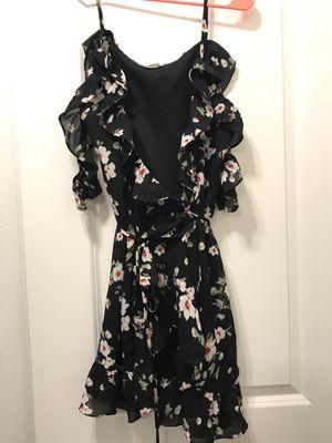 Floral Ruffle Black Dress - Medium for Sale in Gibsonton, FL