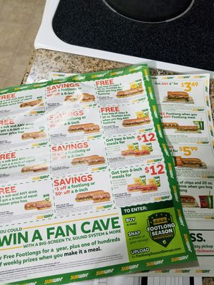 Free subway coupons Exp 11/2020 /Check out my page for my other offers 🎉🎉🛍🛍 for Sale in Montebello, CA