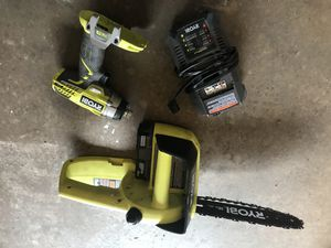 Ryobi 10 in chainsaw, drill, battery and charger for Sale in Milton, FL