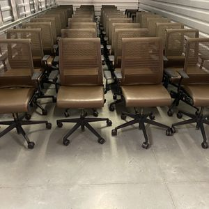 Steelcase Think brown leather seat and 3D knit back mesh ergonomic and fully adjustable chairs for Sale in Laguna Beach, CA