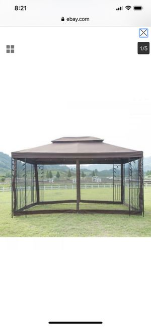10ft Outdoor Gazebo Patio Backyard Shelter Tent with Mosquito Netting Enclosure Dual Vented Roof Steel Frame for Sale in Rio Linda, CA