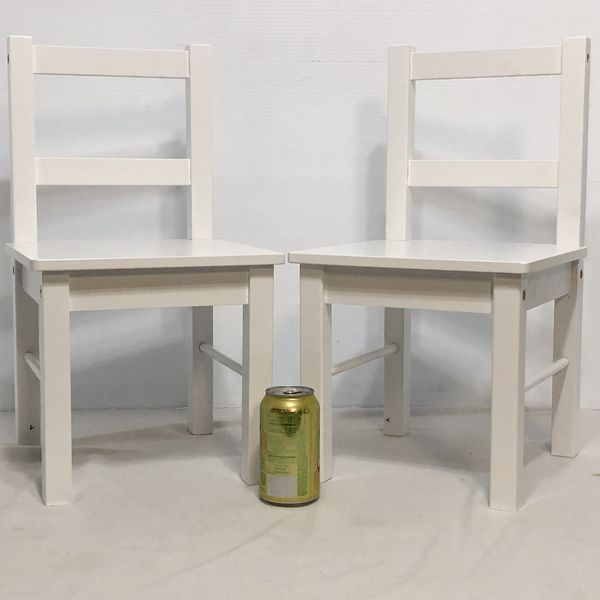SET OF 2 CHILD'S WOODEN CHAIR - WHITE