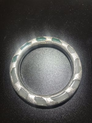antique stone or glass or other jade bangle bracelet with silver tone overlay for Sale in Chicago, IL