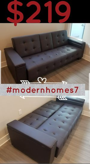 brown leather sofa bed sleeper couch with storage futon for Sale in Rancho Cucamonga, CA