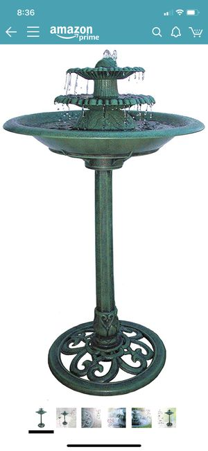 NEW: Vintage Style 3-Tiered Water Fountain & Bird Bath - Ideal for Deck, Garden, or Porch for Sale in Folsom, CA