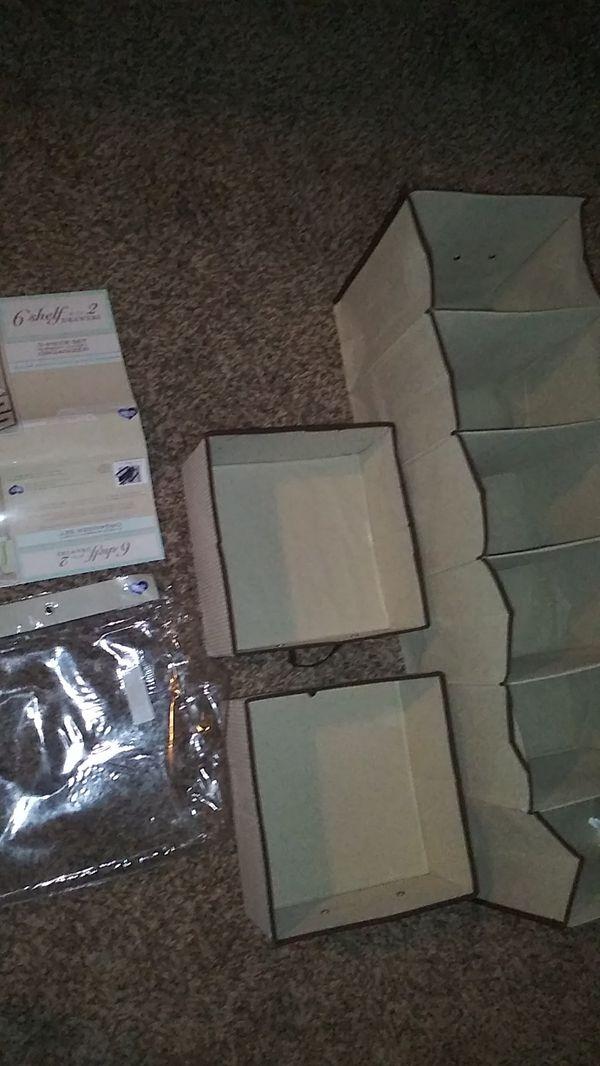 $9 New 6 shelf with 2 drawers organizer.