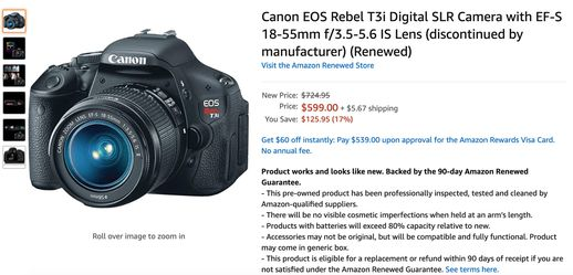 Canon EOS Rebel T3i Digital SLR Camera with EF-S 18-55mm f/3.5-5.6 IS Lens for Sale in San Jose,  CA