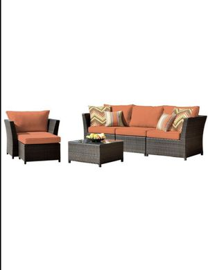 Patio furnitue, Outdoor Furniture Sets,Morden Wicker Patio Furniture sectional with Table and 2 Pillows,Backyard,Pool,Steel (Grey-Orange red) for Sale in Corona, CA