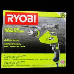 NEW RYOBI D620H 6.2 AMP CORDED 5/8 INCH VARIABLE SPEED HAMMER DRILL for Sale in Overland Park, KS