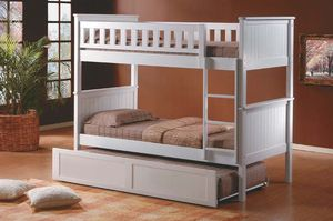 White twin over twin bunk bed with trundle(new) for Sale in Daly City, CA