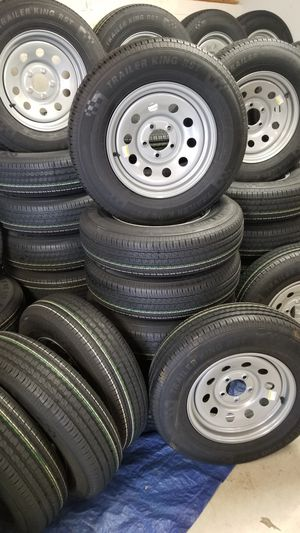 $60 AND UP +TAX NEW TRAILER TIRES/WHEELS SEE BELOW FOR SIZES/ PRICE for Sale in Douglasville, GA