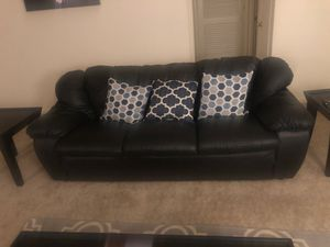 Black leather couch perfect condition!! for Sale in Montpelier, MD