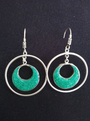 VTG. MEXICO Sterling Silver 925 & alpaca Tourquoise INLAID EARRINGS for Sale in Zionsville, IN