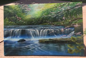 Waterfall with cherry blossoms canvas for Sale in La Mesa, CA