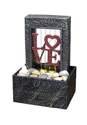 Love LED Fountain Newport Coast Dual Power + Natural River Rocks NEW for Sale in Carrollton, TX