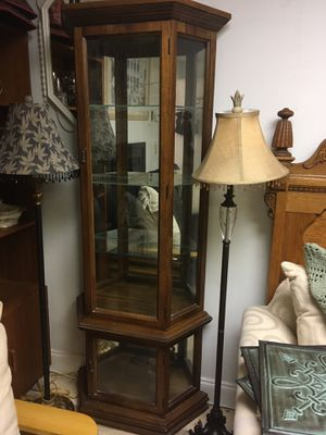 """💥SALE!💥TALL VINTAGE CURIO CABINET MIRROR BACK GLASS SHELVES LOGHT 72""""h *YES ITS STILL AVAIL! for Sale in Lake Worth, FL"""