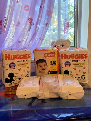 3 diapers number 6 & 3 wipes for only 25$ for Sale in Falls Church, VA