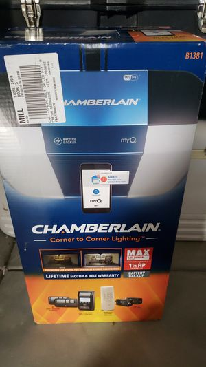 Chamberlain B1381 - Battery backup 1.25 HP Belt Drive Garage Door Opener - Wi-Fi - LED Lighting for Sale in West Richland, WA