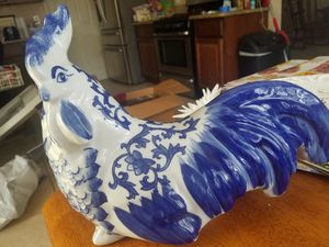 Beautiful kitchen decor blue ceramic rooster for Sale in Anaheim, CA