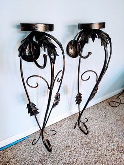 Scrolled Iron Pillar Candle Sconces for Sale in Pleasant Hill,  IA