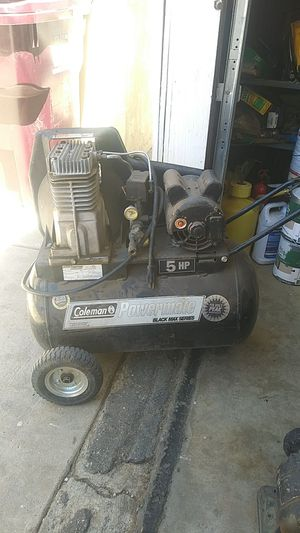 Coleman powermate 5 HP. Air compressor works good. Missing fan belt cover 175.00 o.b.o. for Sale in Beaumont, CA