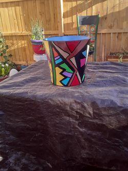 Vibrant summer patio clay pot, original for Sale in Tucson,  AZ