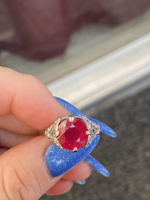 14k white gold natural ruby ring size 6.5 for Sale in Los Angeles, CA