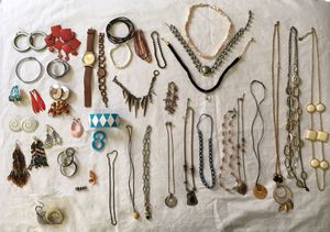 mixed lot of COSTUME JEWELRY earrings ring bracelet watch chokers long necklaces for Sale in Tustin, CA